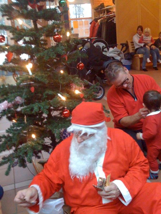 """Tomten"" at the open-preschool Christmas party!"