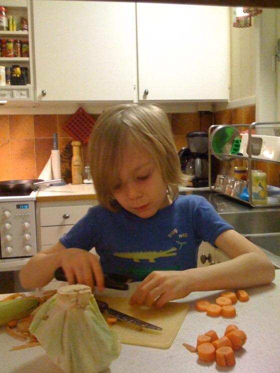 Leon preparing dinner...