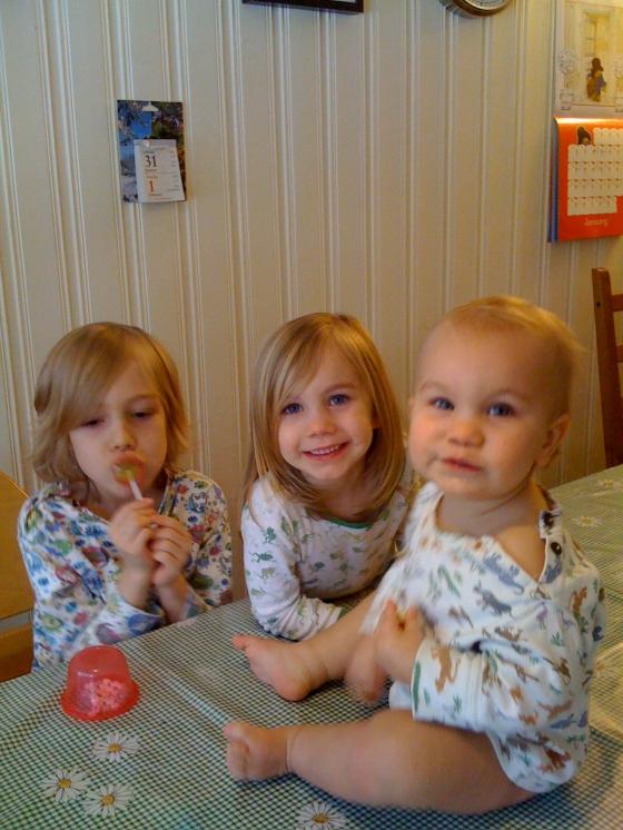Saturday sweetie day. Do those children EVER take off their pyjamas???!!!