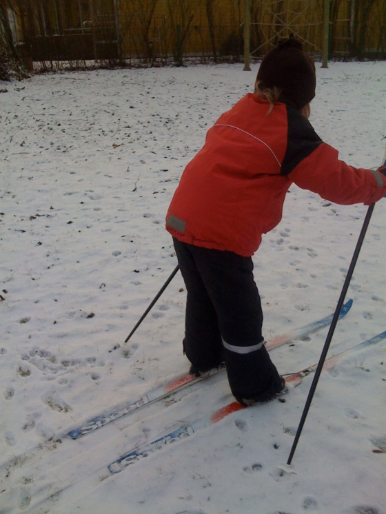 Leon trying out his skis...