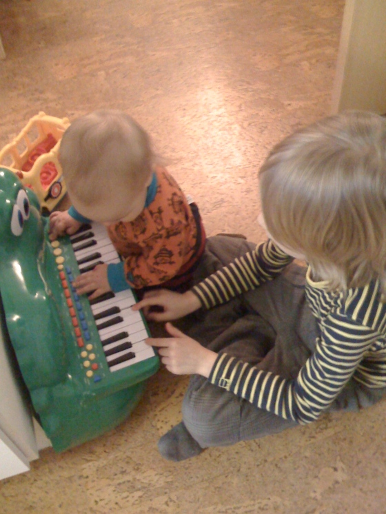 """Leon practicing the """"piano"""" - and Alfie taking his lead..."""