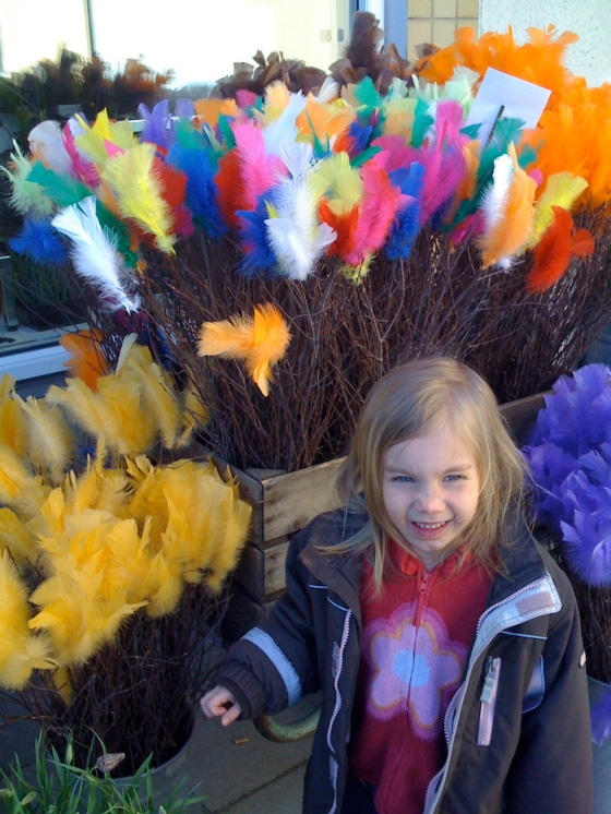 A Swedish Easter custom is to tie coloured feathers onto birch branches, and then to put them in water where the buds will blossom. Here are some for sale at our local garden shop. I think they're always so pretty!