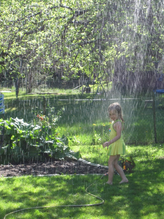 10 am - Playing in the sprinklers