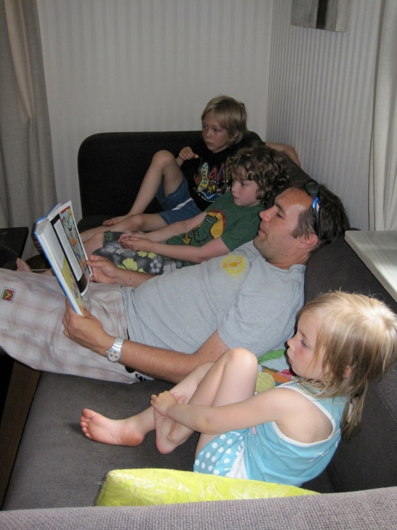 "Here are Leon, Mattias and Maya listening to ""Bamse"" stories!"
