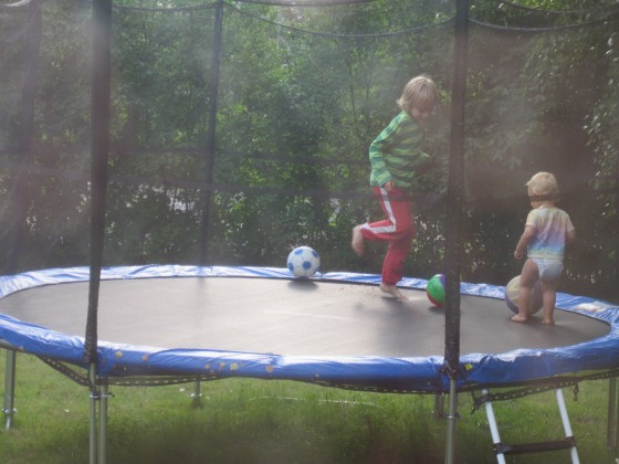 At least three times a day, for what can be hours, all three kids, plus friends, bounce continuously on the trampoline. Fantastic! Best buy ever!