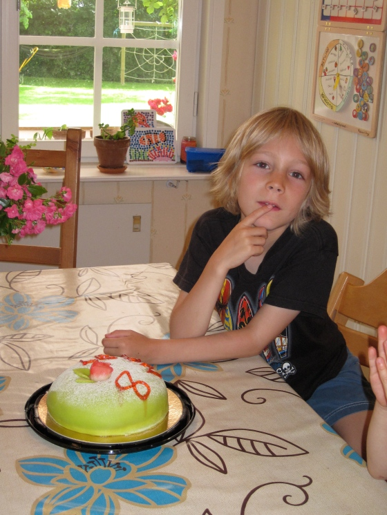 """Celebrating Leon's 8th birthday (with a """"princess tarta"""" - that's what they call it in Sweden!!!)"""