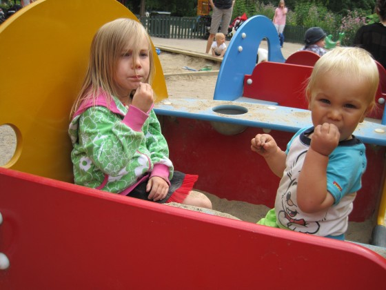 "Eating ""pie"" at Humlegarden playpark"