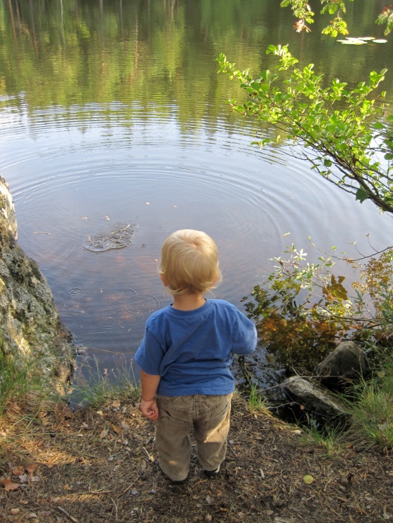 ... While Alfie had fun throwing stones into the lake!