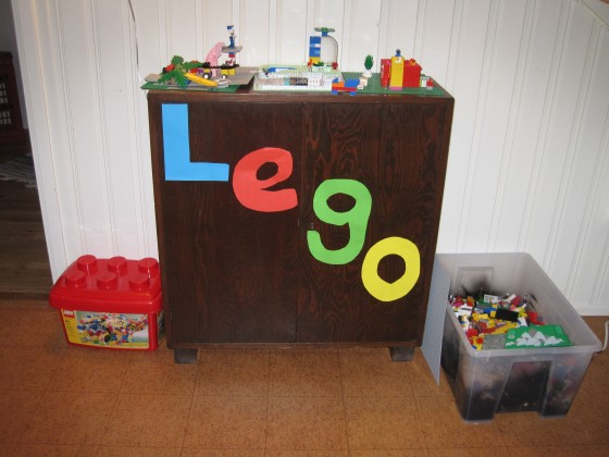 Lego area (specifically for Leon where he can lock his models inside the cupboard!)