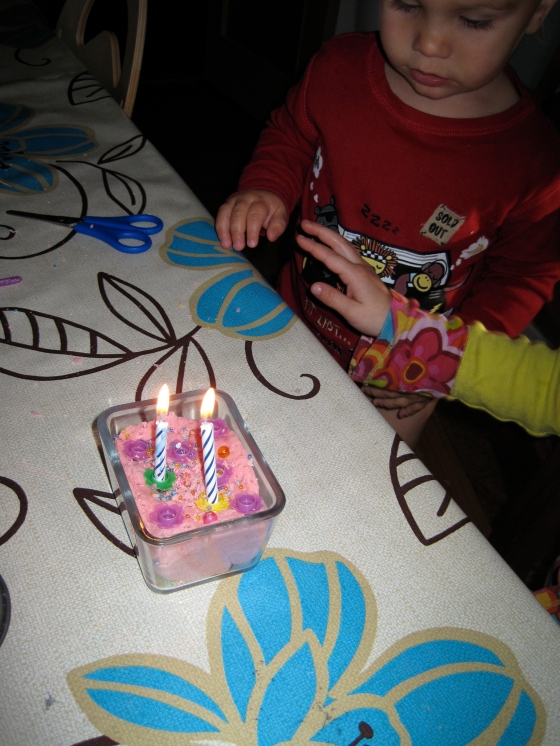 Maya decided we had to light a birthday cake for Alfie!